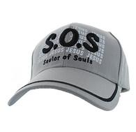 VM110 Savior of Souls Jesus Velcro Cap (Solid Light Grey)