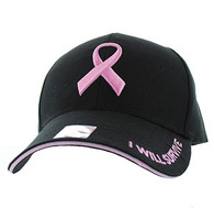 VM555 Breast Cancer Pink Ribbon Velcro Cap (Solid Black)