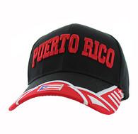 VM421 Puerto Rico Velcro Cap (Black & Red)