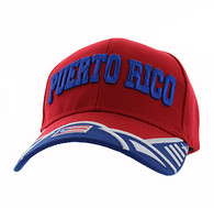 VM421 Puerto Rico Velcro Cap (Red & Royal)