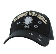 VM548 Born to Kill Skull Velcro Cap (Solid Black)
