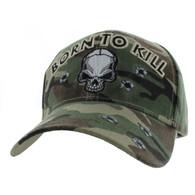VM548 Born to Kill Skull Velcro Cap (Solid Military Camo)