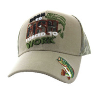 VM262 Born to Fish Forced to Work Velcro Cap (Khaki & Hunting Camo)