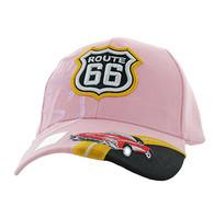 VM046 Route 66 Road Classic Car Velcro Cap (Solid Light Pink)