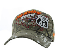 VM397 Route 66 Road Front Map Velcro Cap (Solid Hunting Camo)