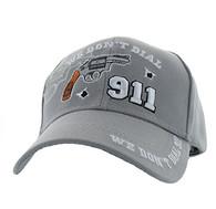 VM043 We Don't Dial 911 Velcro Cap (Solid Light Grey)
