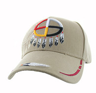 VM037 Native Pride Medicine Wheel Velcro Cap (Solid Khaki)