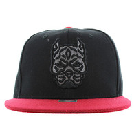 SM569 Pitbull Snapback Cap (Black & Red)