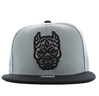 SM569 Pitbull Snapback Cap (Light Grey & Black)