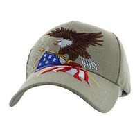 VM040 American USA Eagle Velcro Cap (Solid Khaki)