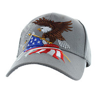 VM040 American USA Eagle Velcro Cap (Solid Light Grey)