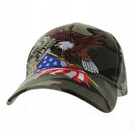 VM040 American USA Eagle Velcro Cap (Solid Military Camo)