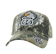 VM199 Route 66 Road Eagle Velcro Cap (Solid Hunting Camo)