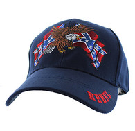 VM444 Rebel Flag Eagle Velcro Cap (Solid Navy)