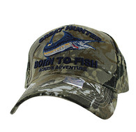 VM589 GREAT HUNTER BORN TO FISH Velcro Cap (Solid Hunting Camo)