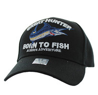 VM589 GREAT HUNTER BORN TO FISH Velcro Cap (Solid Black)
