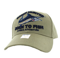 VM589 GREAT HUNTER BORN TO FISH Velcro Cap (Solid Khaki)