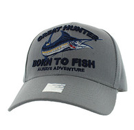 VM589 GREAT HUNTER BORN TO FISH Velcro Cap (Solid Light Grey)