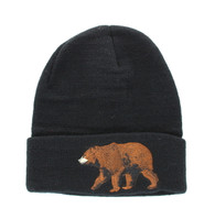 WB040 Bear Long Beanie (Solid Black)