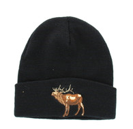 WB040 Elk Long Beanie (Solid Black)