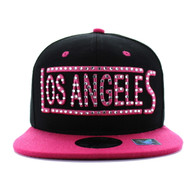 SM331 Los Angeles City Snapback (Black & Hot Pink)