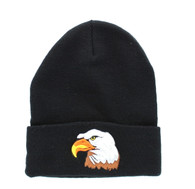WB040 Big Head Eagle Long Beanie (Solid Black)