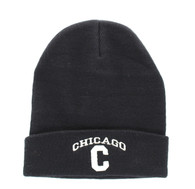 WB040 Chicago Long Beanie (Solid Black)