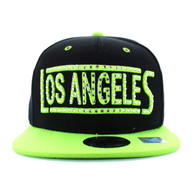 SM331 Los Angeles City Snapback (Black & Neon Lime)