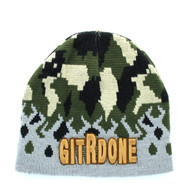 WB050 GIT R DONE Short Beanie (Light Grey & Military Camo)