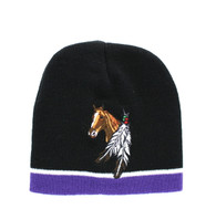 WB050 Feather Horse Short Beanie (Black & Purple)