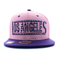 SM331 Los Angeles City Snapback (Light Pink & Purple)
