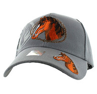 VM158 Horse & Rope Velcro Cap (Solid Light Grey)
