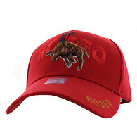 VM336 Rodeo Bull Rider Velcro Cap (Solid Red)