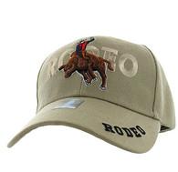 VM336 Rodeo Bull Rider Velcro Cap (Solid Khaki)