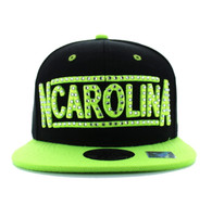 SM331 North Carolina State Snapback (Black & Neon Lime)