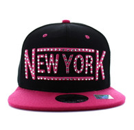 SM331 New York City Snapback (Black & Hot Pink)