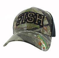 VM181 Born to Fish Forced to Work Velcro Cap (Hunting Camo & Black)