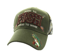 VM181 Born to Fish Forced to Work Velcro Cap (Olive & Hunting Camo)