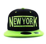 SM331 New York City Snapback (Black & Neon Lime)
