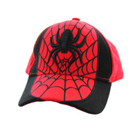 VM063 Spider Kid's Velcro Cotton Cap (Red & Black)