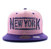 SM331 New York City Snapback (Light Pink & Purple)