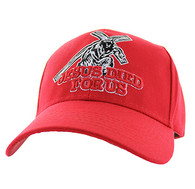 VM607 Jesus Died For Us Velcro Cap (Solid Red)