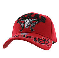 VM512 Texas Skull Guns Velcro Cap (Solid Red)