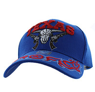 VM512 Texas Skull Guns Velcro Cap (Solid Royal Blue)