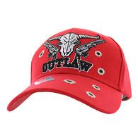 VM512 Outlaw Skull Guns Velcro Cap (Solid Red)
