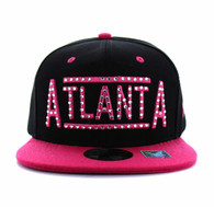 SM331 Atlanta City Snapback (Black & Hot Pink)
