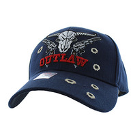 VM512 Outlaw Skull Guns Velcro Cap (Solid Navy)