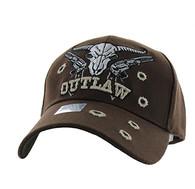 VM512 Outlaw Skull Guns Velcro Cap (Solid Brown)