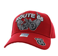 VM603 Route 66 Bike Velcro Cap (Solid Red)
