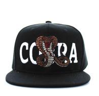SM590 Cobra Snapback Cap (Black & Black)